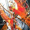 Weiß, Rot schwarz, Acrylmalerei, Orange