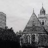 Baum, Turm, Kirche, Federzeichnung