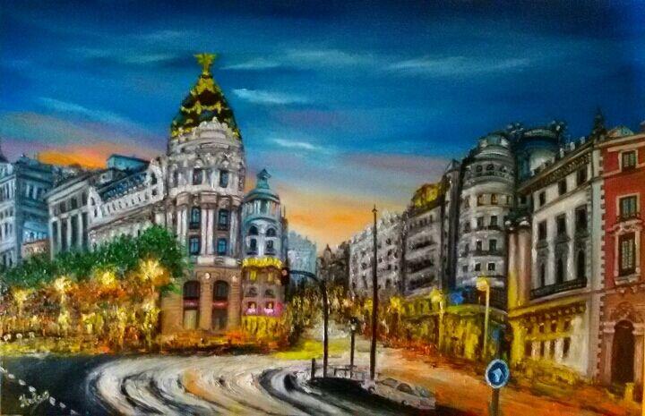 Malerei, Madrid gran via, Spanien,