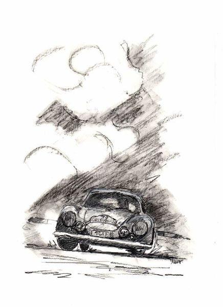 Bleistiftzeichnung, Porsche, Oldtimer, Zeichnungen