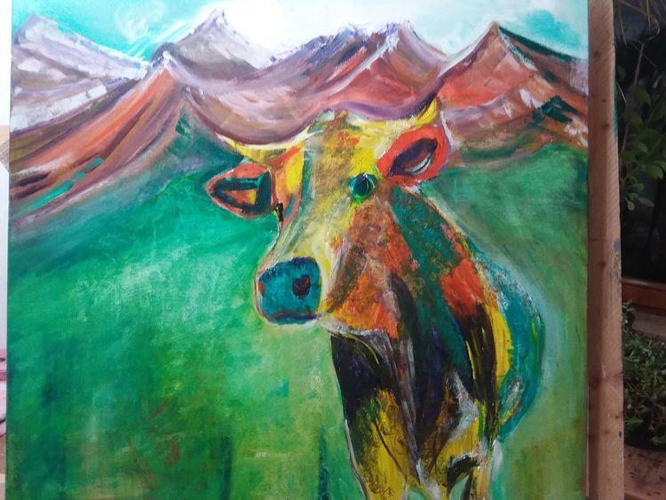 Kuh, Abstrakt, Bunt, Acrylmalerei, Malerei, Tiere