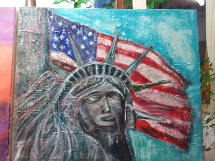 Freiheitsstatue in acryl, Spachteltechnik, Landschaft, Malerei, Amerika, Freiheitsstatue