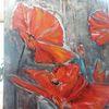 Rot, Abstrakt, Mohn, Malerei