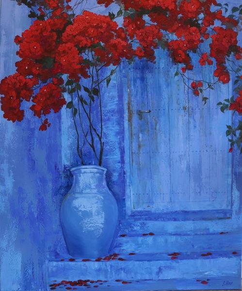 Gemälde, Rot, Blau, Ultramarin, Ölmalerei, Blumen