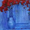 Blau, Ultramarin, Ölmalerei, Blumen