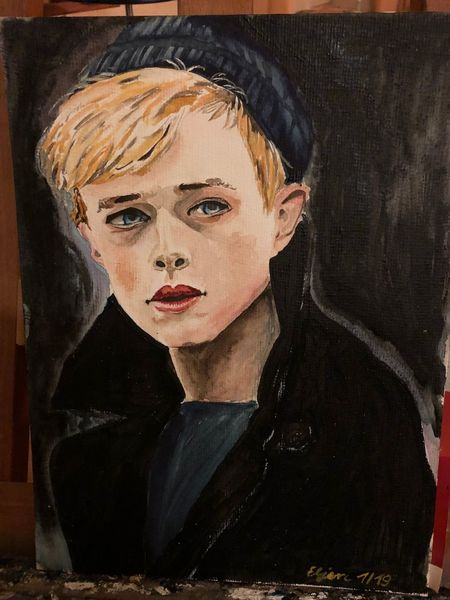Mann, Aquarellmalerei, Acrylmalerei, Portrait, Schauspieler, Filmstill