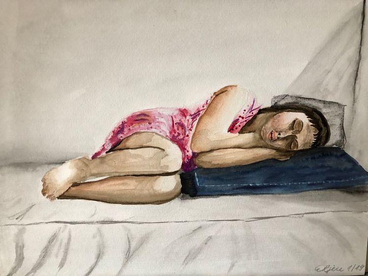 Mädchen, Schlaf, Aquarellmalerei, Kind, Aquarell