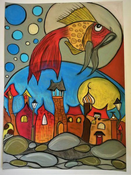 Fantasie, Bunt, Abstrakt, Gestaltung, Häuser, Fisch