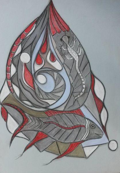Bunt, Rund, Abstrakt, Fantasie, Fisch, Malerei