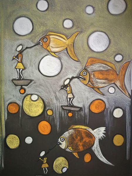 Fisch, Begegnung, Fantasie, Wortlos, Abstrakt, Malerei