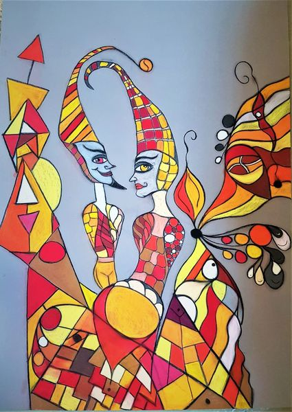 Begegnung, Bunt, Figur, Fantasie, Abstrakt, Malerei