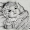 Zeichnung, Mädchen, Bleistiftzeichnung, Baby