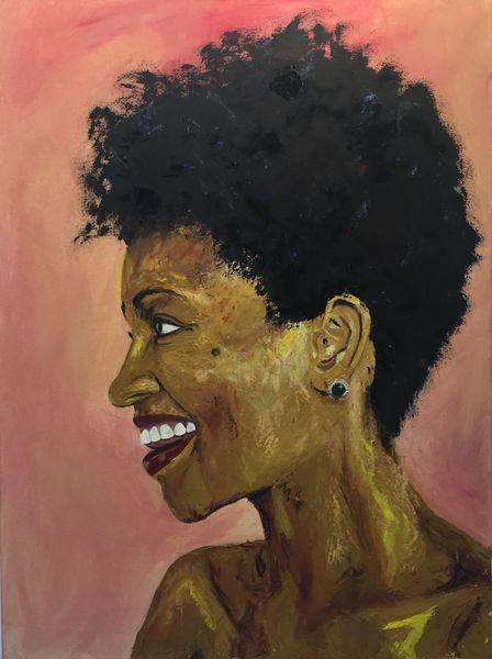 Frau, Expressionismus, Profil, Dunkelhäutig, Lächeln, Portrait