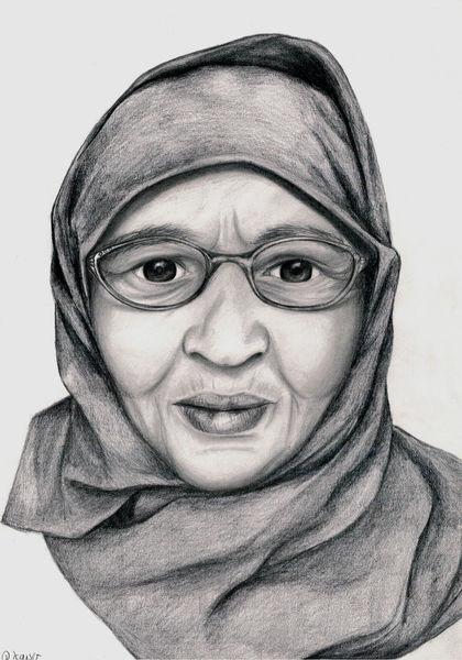 Frau, Alte frau, Kopftuch, Brille, Zeichnungen