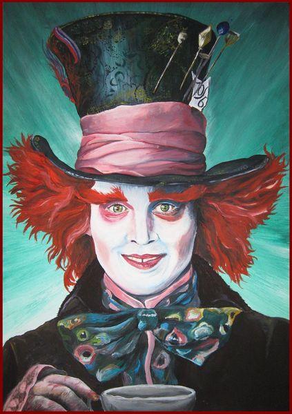 Der verrückte hutmacher, Acrylmalerei, Alice im wunderland, Malerei
