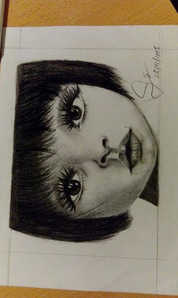 Kleinkind, Kohlezeichnung, Tatli, Mädchen, Große augen, Portrait