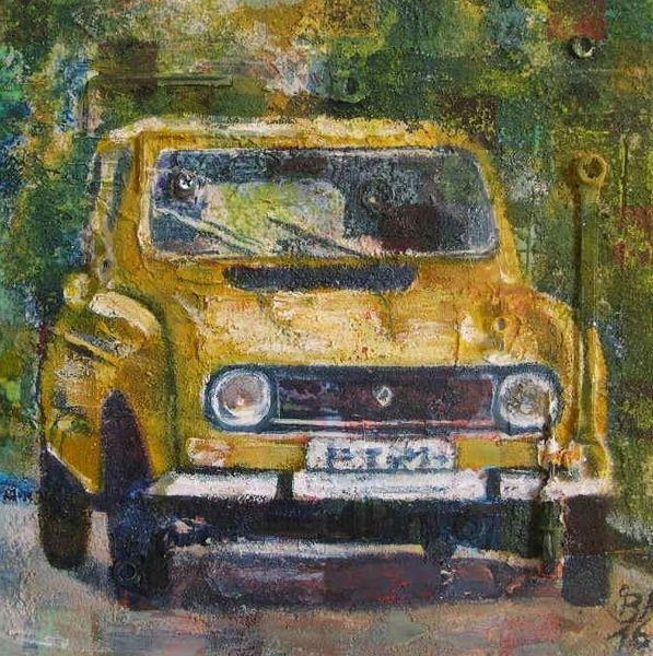 Schraubenschlüssel, Renault, Auto, Gelb, Mischtechnik,