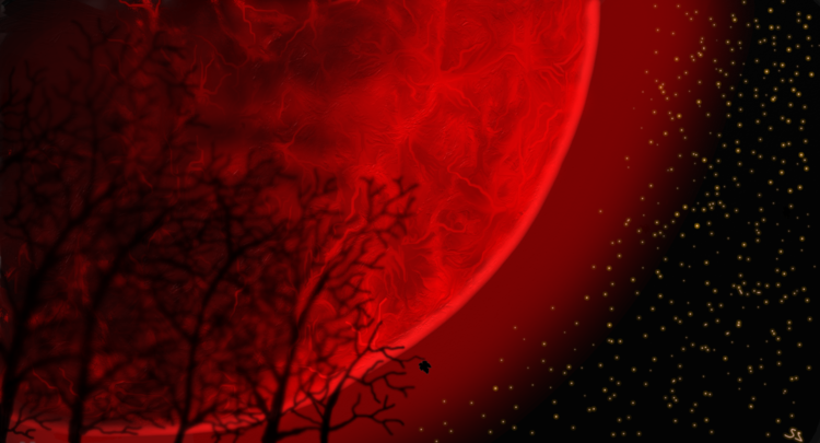 Redmoon, Mond, Malerei, Abstrakt, Landschaft, Rot