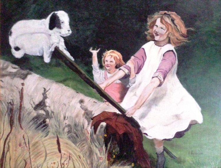 Kinder, Mädchen, Ölmalerei, Hundewippe, Hund, Malerei