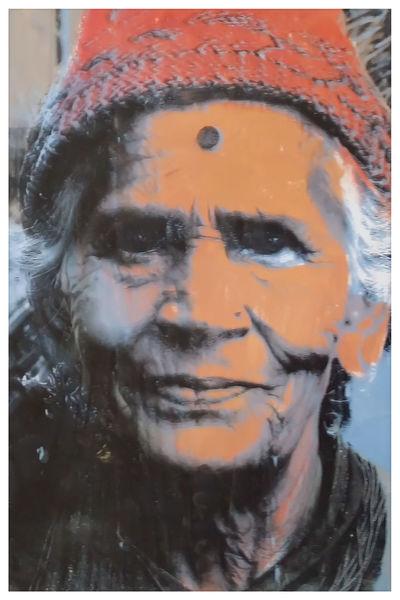 Siebdruck, Frau, Nepal, Popart, Portrait, Druckgrafik