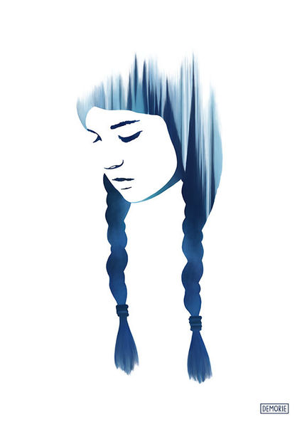 Lange haare, Meisterwerk, Gefühl, Blau, Traum, Aquarellmalerei