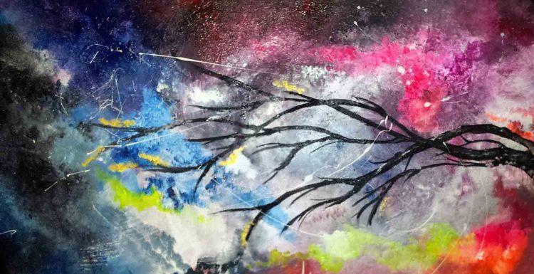 Abstrakt, Acrylmalerei, Bunt, Malerei, Traum, Neon