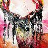 King of the Forest - acryl, abstrakt, neon, malerei, bunt, Hirsch, , orange, pink, fantasie