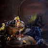 Ölmalerei, Korb, Weintrauben, Tonne