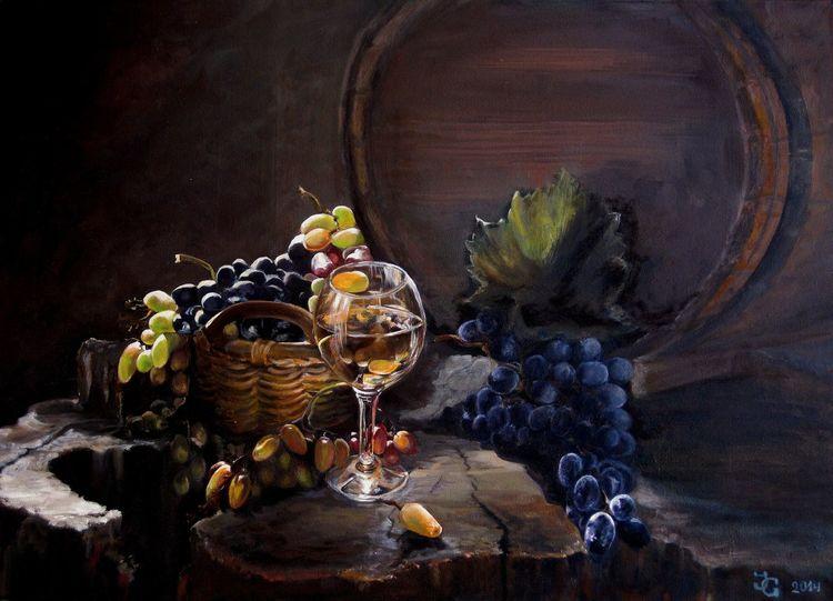 Weintrauben, Tonne, Wein, Blau, Glas, Grün