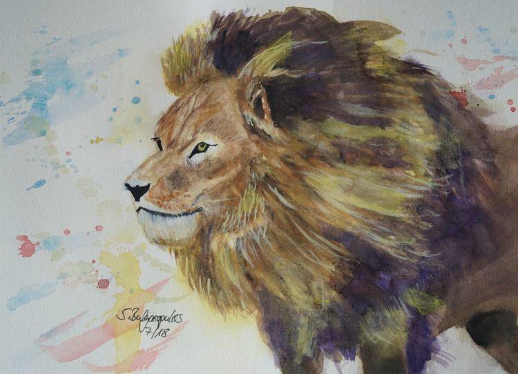 Bewegung, Tiere, Löwe, Mähne, Aquarell, Sprung