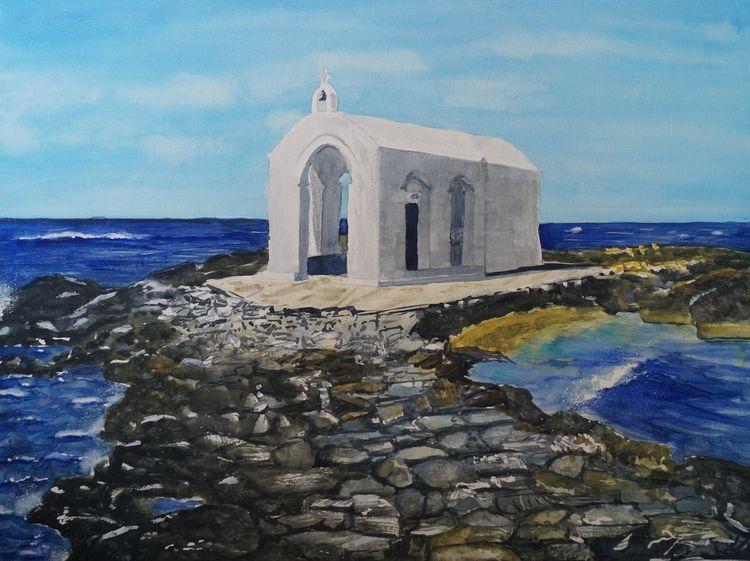 Meer, Kreta, Kapelle, Aquarell