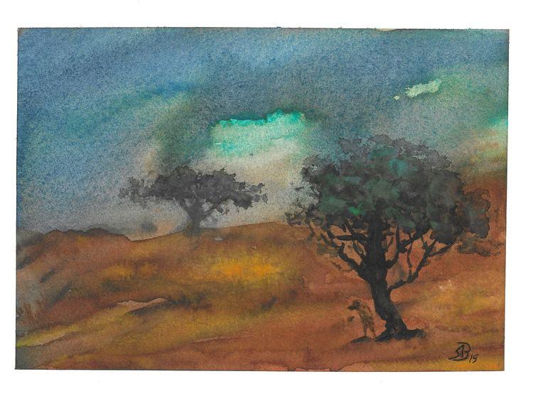 Landschaft, Baum, Dunkel, Aquarell
