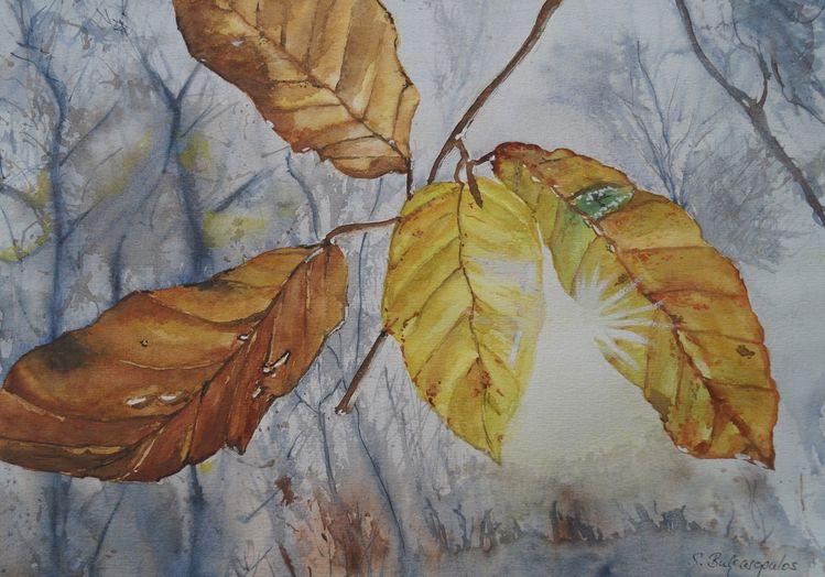 Herbst, Licht, Blätter, Aquarell, Lichtblick