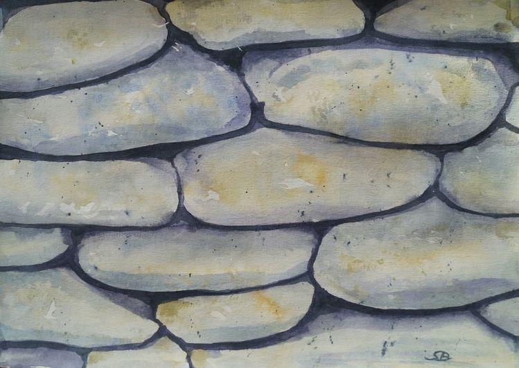 Grau, Stein, Mauer, Aquarell, Steinmauer