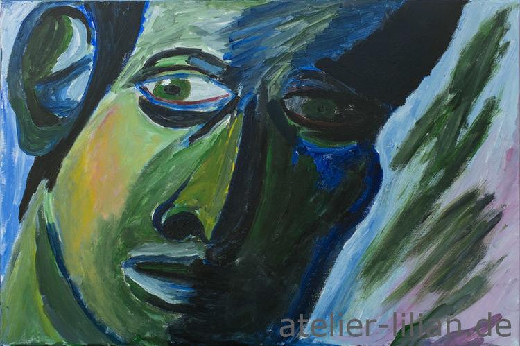 Mann, Gesicht, Kopf, Portrait, Blau, Malerei