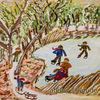 Kinder, See, Weiher, Gogh