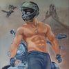 Ölmalerei, Motorrad, Mann, Biker