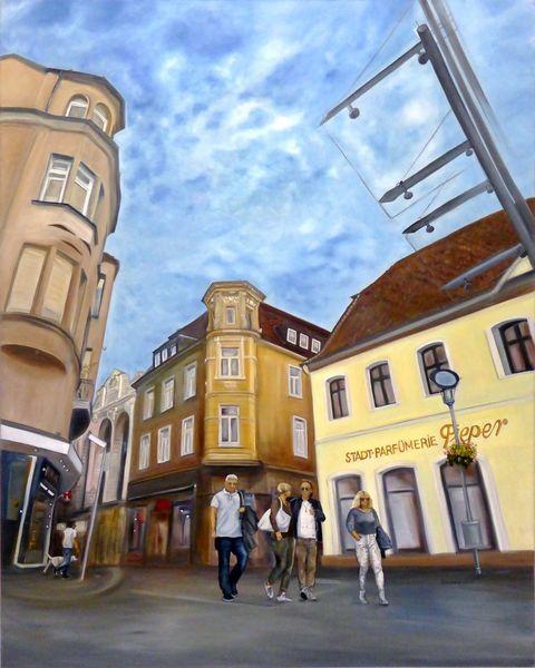 Ölmalerei, Menschen, Blau, Licht, Himmel, Recklinghausen