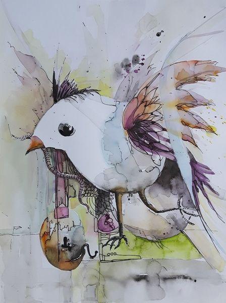 Vogel, Früher vogel, Eig, Küken, Abstrakt, Mischtechnik