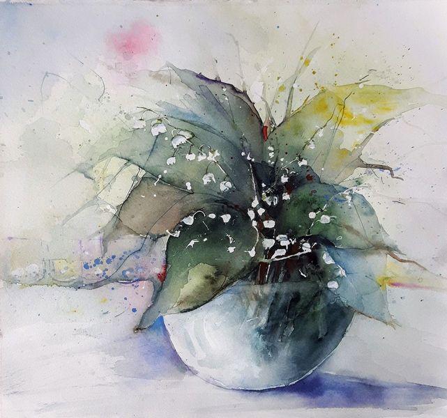 Maiglöckchen, Blumen, Blüte, Grün, Aquarell