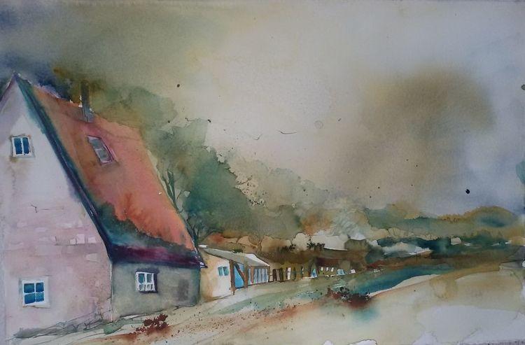 Häuser, Melancholie, Landschaft, Gehöft, Dorf, Aquarell
