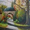 Herbst, Schloss, Ölmalerei, Park