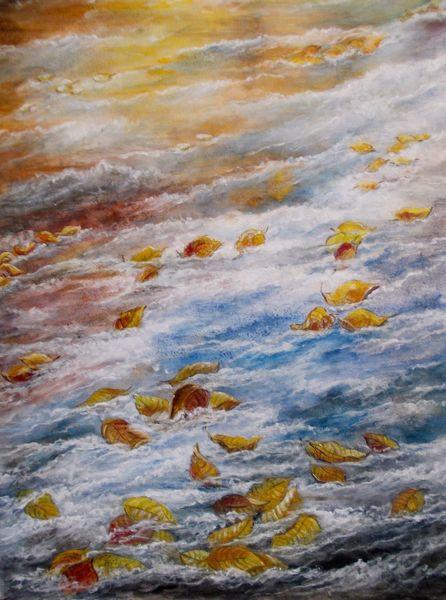 Blätter, Bunt, Herbst, Wasser, Treiben, Laub