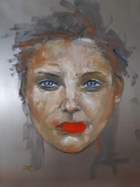 Zeitgenössisch, Frau, Rote lippen, Portrait, Augen, Ölmalerei