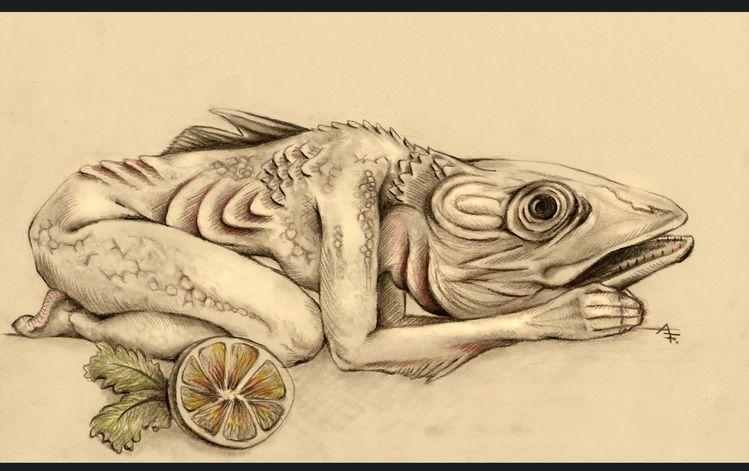 Mischwesen, Tiere, Fisch, Wert, Guten appetit, Vegetarismus