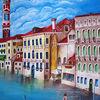 Venedig, 60x90, Häuser, Wolken