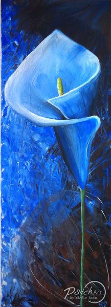 Blumen, Spachtel, Wasser, Calla, Braun, Blau