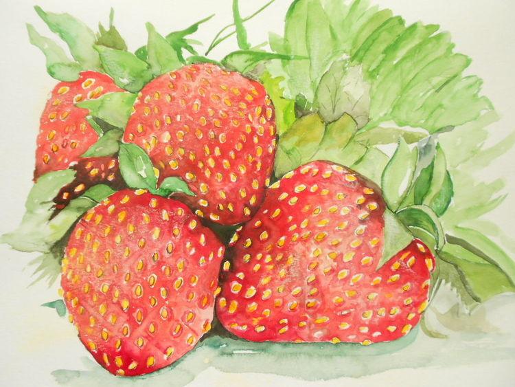 Frühling, Erdbeeren, Grün, Aquarellmalerei, Obst, Kuchen