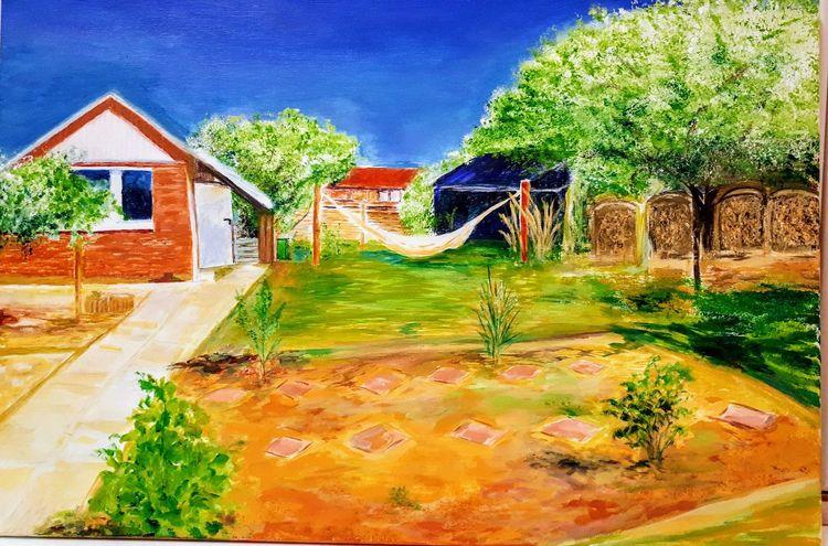 Acrylmalerei, Garten, Malerei,