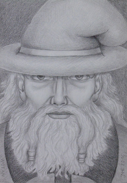 Wodan, Lumograph, Mythologie, Wotan, Bleistiftzeichnung, Zeichnungen